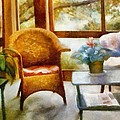 Wicker Chair and Cyclamen Print by Michelle Calkins