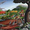 Wild Turkeys Appalachian Thanksgiving Landscape - Childhood Memories - Country Life - Americana