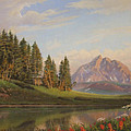 Wildflowers Mountains River Western Original Western Landscape Oil Painting by Walt Curlee