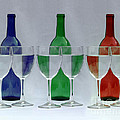 Wine Bottles and Glasses Illusion Print by Jack Schultz