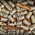 Wine Corks On A Wooden Barrel by Paul Ward