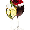 Wine With Red Rose by Elena Elisseeva