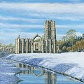 Winter Morning Fountains Abbey Yorkshire by Richard Harpum