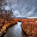 Winter Storm over Owens River Print by Cat Connor