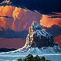 Winter Sunset Over Shiprock by Randy Follis
