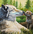 Wolf Painting - Spring Kisses by Crista Forest