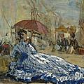 Woman In A Blue Dress Under A Parasol by Eugene Louis Boudin