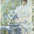 Woman With A Vase Of Irises by Robert Reid