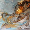 Woman with Book Print by Nelya Shenklyarska