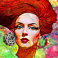 Woman With Earring Print by Chuck Staley