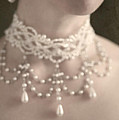 Woman With Pearl Choker Necklace by Lee Avison