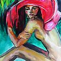 Woman with Red Hat Print by Nelya Shenklyarska