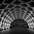 Wooden Archway With Chicago Skyline In Black And White by Sven Brogren