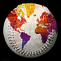 World Map - Rainbow Bliss Baseball Square by Andee Design