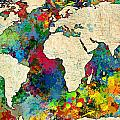 World Map Colorful by Gary Grayson