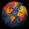 World Map - Elegance Of The Sun Baseball Square by Andee Design