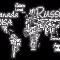 World Map In Text Neon Light by Dan Sproul