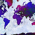 World Map - Purple Flip The Light Of Day - Abstract - Digital Painting 2 by Andee Design