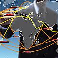 World Shipping Routes Map by Atiketta Sangasaeng