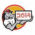 Year of Horse 2014 Showing Sign Cartoon Print by Aloysius Patrimonio