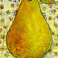 Yellow Pear on Squares Print by Blenda Studio