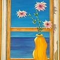 Yellow Vase With Sea View by Pamela Allegretto