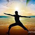 Yoga On Beach Print by Bedros Awak