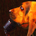 You Ain't Nothing But A Hound Dog - Dark - Painterly by Wingsdomain Art and Photography