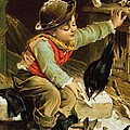 Young Boy With Birds In The Snow by English School