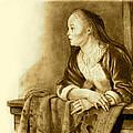 Young Woman On A Balcony Sepia by Joyce Geleynse