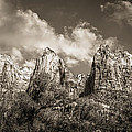 Zion Court Of The Patriarchs In Sepia by Tammy Wetzel