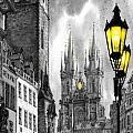 BW Prague Old Town Squere Print by Yuriy  Shevchuk