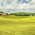 Hay Harvesting In Field Outside Red Barn Maine by Keith Webber Jr