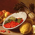 Still Life of Raspberries Lemons and Asparagus  Print by Italian School