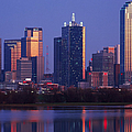 Dallas Skyline Reflected In Pond At Dusk by Jeremy Woodhouse