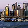 Lower Manhattan Skyline And Brooklyn Bridge At Dawn by Jeremy Woodhouse