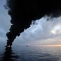 Oil Spill Burning, Usa by U.s. Coast Guard