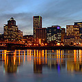 Portland Oregon at dusk. Print by Gino Rigucci
