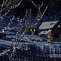 Snowy Winter Scene Of A Cabin In Distance  by Sandra Cunningham