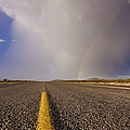 Storm and Rainbow Along the Highway Print by Jeremy Woodhouse