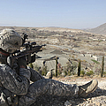 U.s Army Soldier Scans His Sector by Stocktrek Images