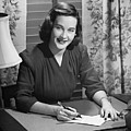 Young Woman Writing Letter At Desk, (b&w) by George Marks