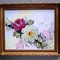 1106 framed rose tile by Wilma Manhardt
