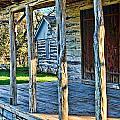 1860 Log Cabin Porch by Linda Phelps