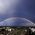 Double Rainbow Over A Town by Pekka Parviainen
