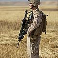 U.s. Marine Patrols A Wadi Near Kunduz Print by Terry Moore