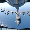A Kc-135 Stratotanker Refuels A B-52 Print by Stocktrek Images