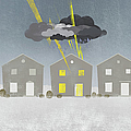 A Row Of Houses With A Storm Cloud Over One House by Jutta Kuss