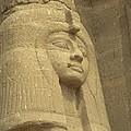 A Statue Of Nefertari At The Entrance by Richard Nowitz