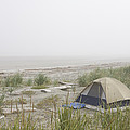 A Tent Sits In The Dunes By The Beach by Taylor S. Kennedy